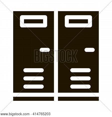 Locker Rooms Glyph Icon Vector. Locker Rooms Sign. Isolated Symbol Illustration