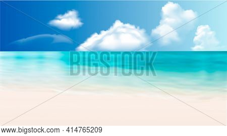 Blue Sea With Beach And Clouds. Maldives Vector Graphics