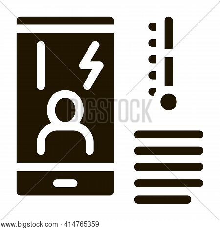 Temperature Phone Glyph Icon Vector. Temperature Phone Sign. Isolated Symbol Illustration