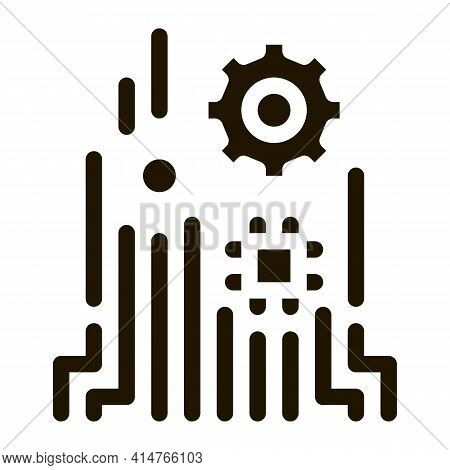 Mechanism Chip Glyph Icon Vector. Mechanism Chip Sign. Isolated Symbol Illustration