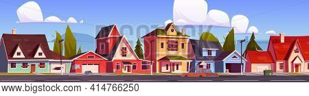 Abandoned Suburb Houses, Suburban Street With Old Residential Cottages With Boarded Up Windows And D