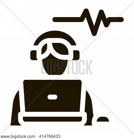 Listening Audio Glyph Icon Vector. Listening Audio Sign. Isolated Symbol Illustration