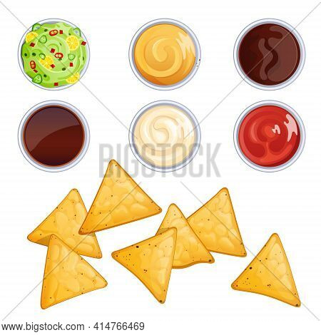 Nacho Chips And Sauces In Bowls, Mexican Food With Dressings. Vector Cartoon Set Of Salsa, Ketchup,