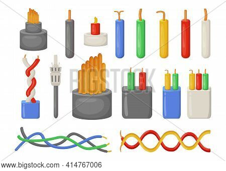Cartoon Electrical Cables Flat Vector Illustrations Set. Collection Of Different Electric Industrial