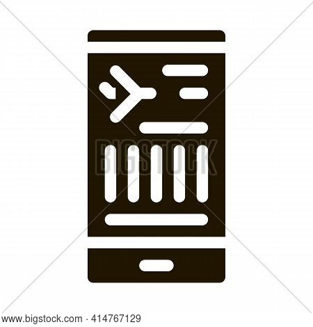 Flight Information On Phone Icon Vector. Flight Info On Smartphone Display Pictogram. Passenger Card