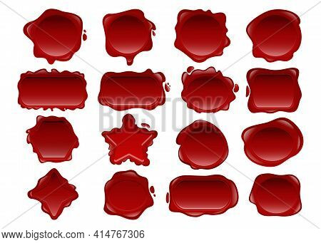 Red Wax Seal Vector Illustrations Set. Collection Of Elegant Vintage Post Signets In Different Shape
