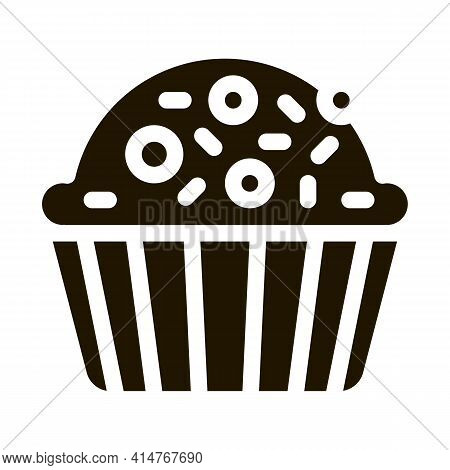 Muffin Delicious Baked Food Icon Vector. Yummy Muffin Cake Covered Sweet Candies On Top Pictogram. P