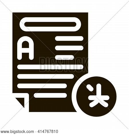 Text File For Translation Icon Vector. Document With Text For Translate Other Language Pictogram. Mo
