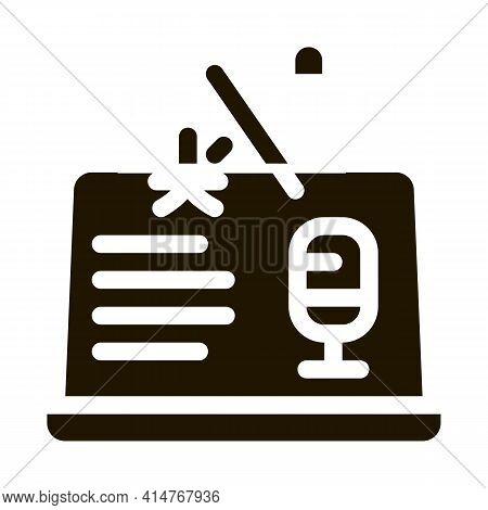Laptop Translation Program Icon Vector. Microphone On Laptop Display, Internet Interpreter Technolog