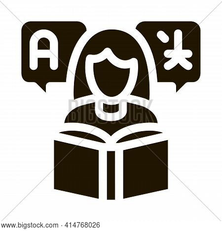 Woman Learning Language Icon Vector. Girl With Dictionary Reading Book For Study Foreign Language Pi