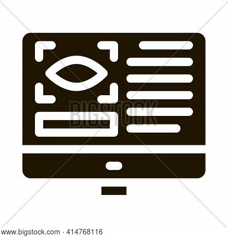 Optometry Online Information Icon Vector. Eye And Info On Computer Display Optometry Info Pictogram.