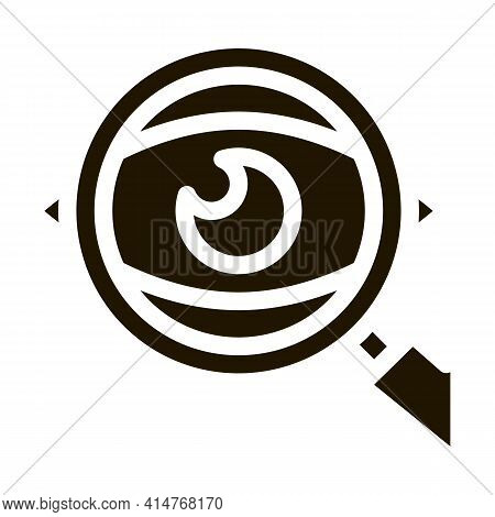 Eye Optical Investigation Icon Vector. Magnifying Glass Patient Eye Surveillance Pictogram. Zoom Lou