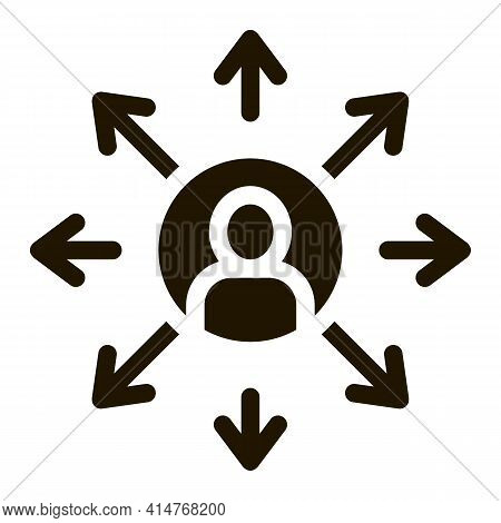 Different Areas Of Activity Icon Vector. Human In Center Of Circle With Arrows, Multitasking Pictogr
