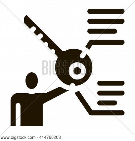Businessman Holding Key Icon Vector. Human Silhouette And Key With Text Characteristics Pictogram. M