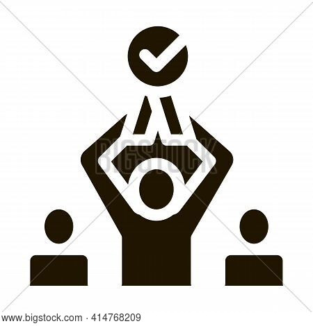 Human Winner Holding Medal Icon Vector. Businessman Silhouette Hold Medal With Approved Mark Pictogr