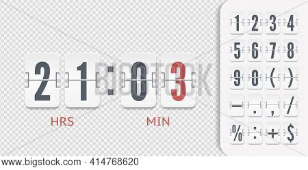 White Analog Countdown Font. Flip Numbers Font Time Counter Information Page. Vintage Symbols Time M