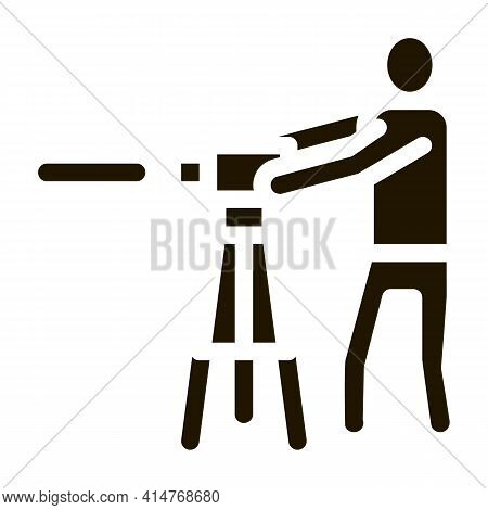 Worker Measuring Landscape Icon Vector. Engineer Human With Topography Measuring Equipment Pictogram