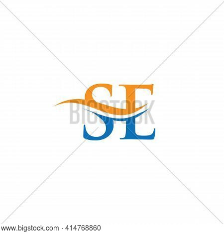 Swoosh Letter Se Logo Design For Business And Company Identity. Water Wave Se Logo With Modern Trend