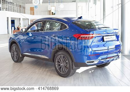 Russia, Izhevsk - February 17, 2021: Haval Showroom. New Modern Haval F7x Car In Dealer Showroom. Ba
