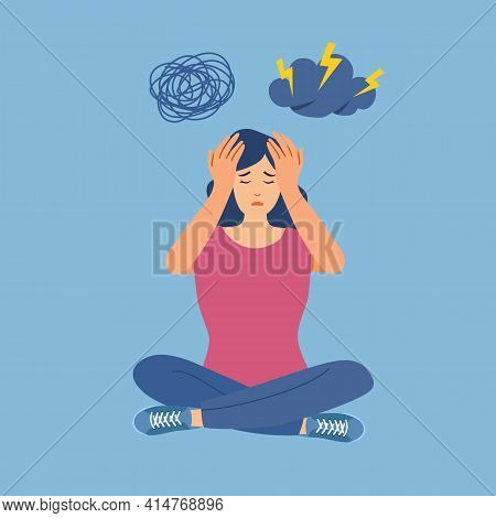 Anxious Woman Feeling Sad And Stress Sitting On The Floor In Flat Design. Female Worries About Her P