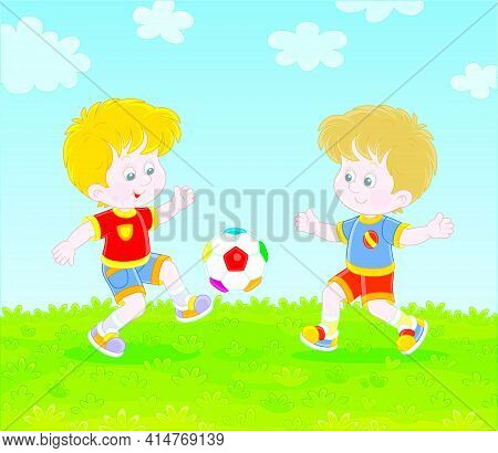 Little Football Players Kicking A Colorful Ball At A Match Or Training On A Green Sports Field, Vect