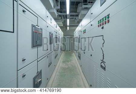Interior Of Electrical Room. Power Energy Motor Machinery Cabinets In Control Or Server Room, Main O