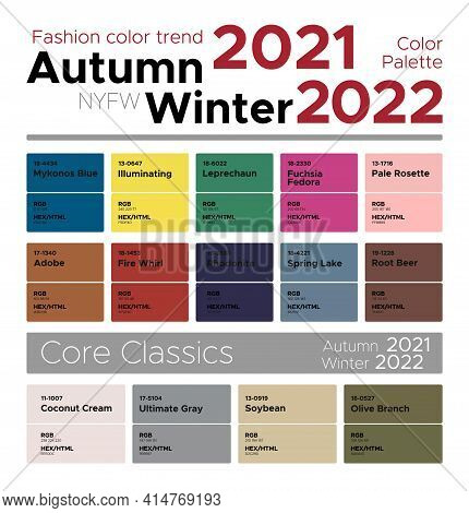 Color Trends Autumn Winter 2021-2022. Palette Fashion Colors Guide With Named Color Swatches, Rgb, H