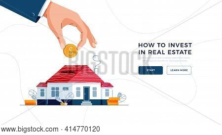 How To Invest In Real Estate Landing Page Template. Investors Hand Puts A Coin Into The Piggy Bank H