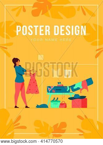 Woman Packing Bag For Travel. Girl Preparing Her Luggage For Vacation Flat Vector Illustration. Vaca