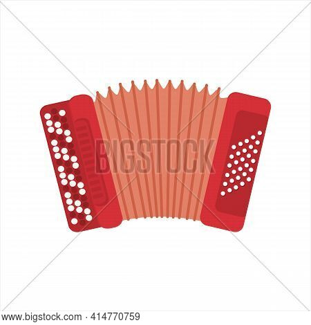 Chromatic Button Accordions Or Russian Bayan. Vector Red Color Diatonic Melodeon. Cartoon Accordion,