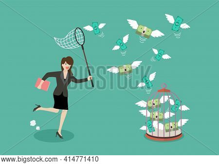 Business Woman Trying To Catch Flying Money Into Birdcage. Business Metaphor
