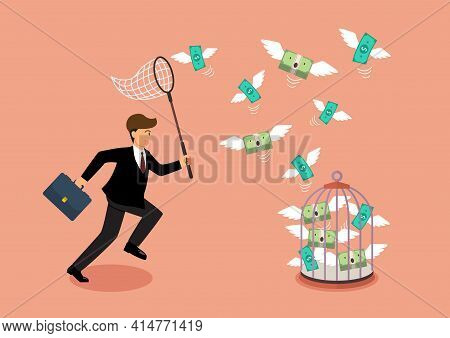 Businessman Trying To Catch Flying Money Into Birdcage. Business Metaphor