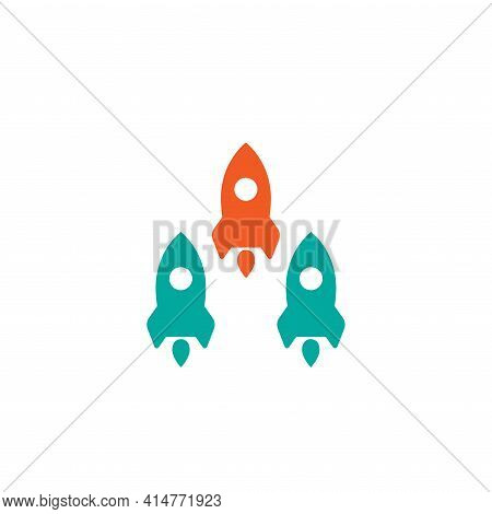 Three Rockets Fly Up On White Background. Launch, Upgraid Icon. Creative Project Start, Business Adv