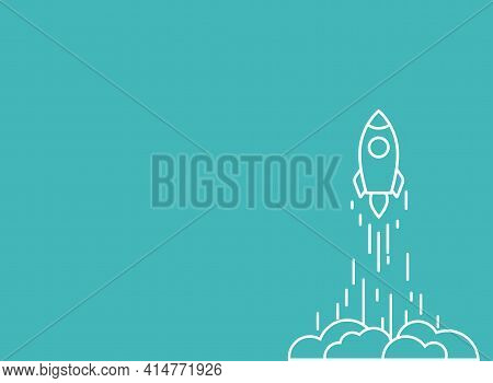 Rocket Line Ship With Fire And Clouds. Isolated On Powder Blue. Flat Linear Vector Illustration With
