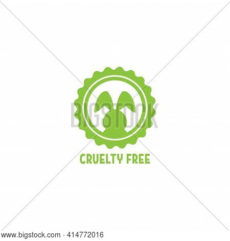 Cruelty Free Label. Not Tested On Animals Stamp. No Animal Testing Seal. Logo Design With Bunny. Vec