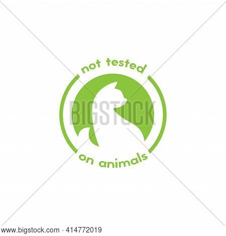 Cruelty Free Label. Not Tested On Animals Stamp. No Animal Testing Seal. Logo Design With Kitten Or