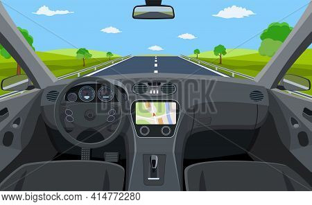 View Of The Road From The Car Interior. Vehicle Salon, Inside Car Driver . Driving Simulator . Car V