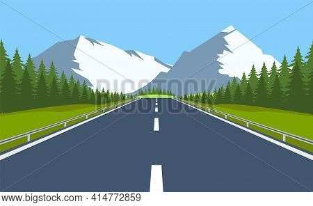 Highway Drive With Beautiful Landscape. Travel Road Car View. Vector Illustration In Flat Design