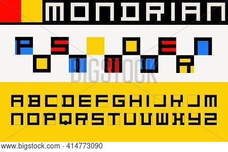 Postmodern Decorative Alphabet, Mondrian Style Font. Vector