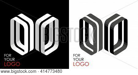 Isometric Letter O In Two Perspectives. From Stripes, Lines. Template For Creating Logos, Emblems, M