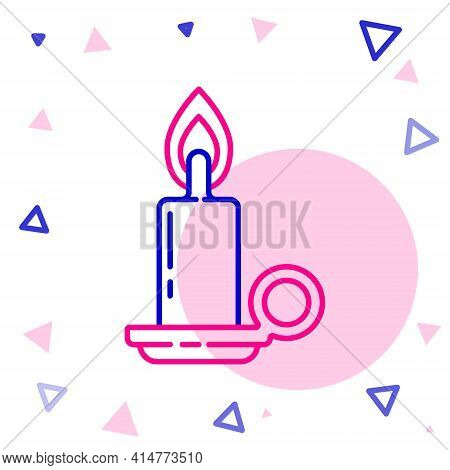 Line Burning Candle In Candlestick Icon Isolated On White Background. Cylindrical Candle Stick With