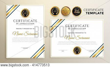 Elegant Golden Certificate Template For Multipurpose Use