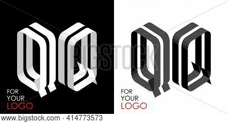 Isometric Letter Q In Two Perspectives. From Stripes, Lines. Template For Creating Logos, Emblems, M