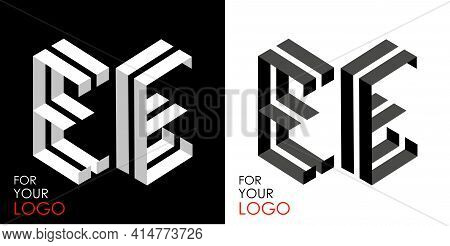 Isometric Letter E In Two Perspectives. From Stripes, Lines. Template For Creating Logos, Emblems, M