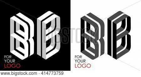 Isometric Letter B In Two Perspectives. From Stripes, Lines. Template For Creating Logos, Emblems, M