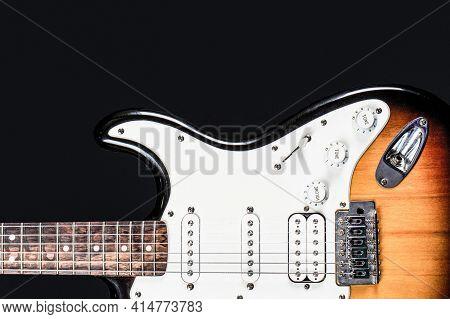 Guitar Strings, Close Up. Electric Bass Guitars. Electric Guitar. Close Up Of Music Guitar. Stringed