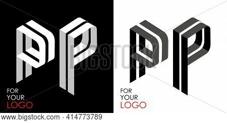 Isometric Letter P In Two Perspectives. From Stripes, Lines. Template For Creating Logos, Emblems, M