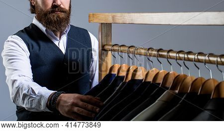 Tailor, Tailoring. Stylish Mens Suit. Handsome Bearded Fashion Man In Classical Costume Suit. Man Su