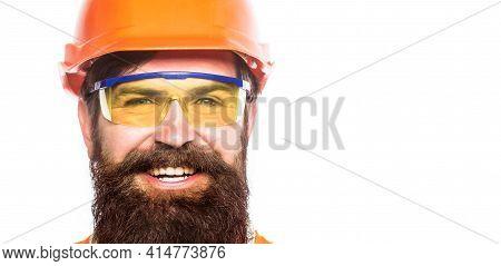 Man Builders, Industry. Building Glasses. Portrait Of A Builder Smiling. Builder In Hard Hat, Forema