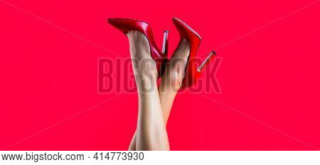 Perfect Female Legs Wearing High Heels. Shapely Legs, A Girl In Shoes High-heeled. High Heel Shoes.